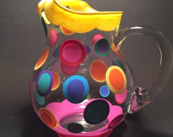 Kool Aid Pitcher! in yellow & pink edges with polka dots by detroit glass company