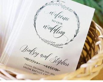 Wedding Program Template, INSTANT DOWNLOAD, 100% Editable, Printable Ceremony, Order of Service, Kraft Program, DIY, Templett #022-103WP