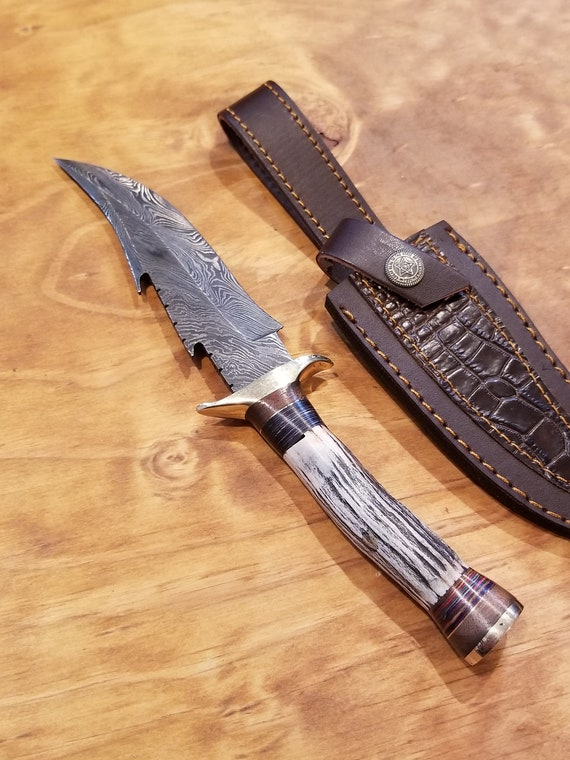 Handmade Deer Antler Handle Hunting Knife Damascus Blade Stag Horn Collection With Leather Sheath Premium Outdoors (K69)