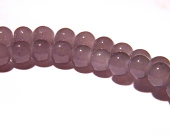 "50 beads glass light - 6 mm - way ""jade"" - shiny gray - PG28"
