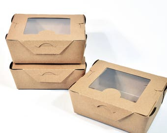 Kraft Take Out Box (10) * 6.5x5.5x2.5 * packaging * gift box * cookies * food box * recycled