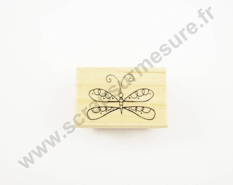 X 1 PCs - spiral Butterfly - wooden rubber stamp