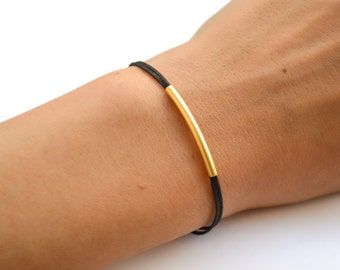 Gold bar bracelet, black, Birthday gift, gold tube bar, elegant bracelet, stack bracelet, gift for her, minimalist jewelry, long tube