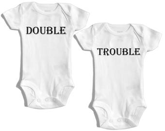 Double trouble - Twin outfit - Baby shower gift for twins - Boy girl twin - Girl boy twin - Boy boy twins - girl girl twins - Twinmom - twin