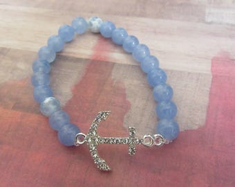 Sparkle Nautical Anchor Beaded Stretch Bracelet with Periwinkle Blue Beads