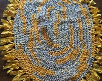 Yellow Crocheted Rag Rug