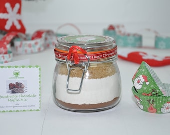 Personalised Xmas, Christmas Santa's muffin mix, quad choc muffin mix, four choc cake, Xmas baking gift, Santa's muffins, Kilner baking kit