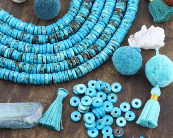Speckled Turquoise Blue : Bone Rondelle Heishi Beads, 10x3mm, Natural, Bohemian Jewelry Making Mala Supply, Large Hole Spacer Bead, 65+ Pcs