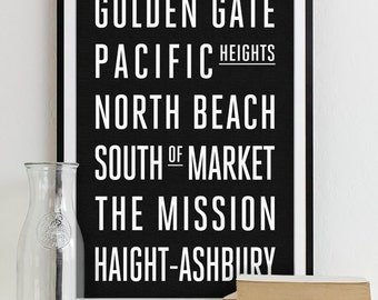Wall Art Subway Sign Typography Poster - Modern Art Print City SAN FRANCISCO