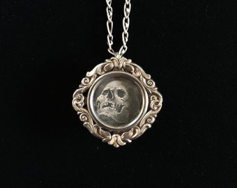 antique french memento mori reliquary necklace