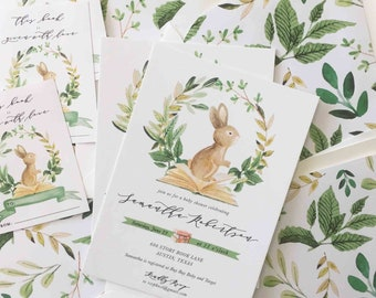 Book baby shower etsy book themed baby shower invitations baby book shower baby shower invites bunny theme shower for baby book baby shower invitations filmwisefo