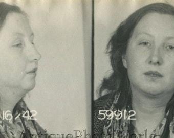 Sad woman criminal antique police mug shot photo
