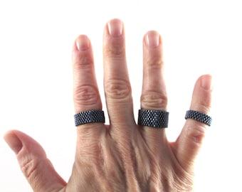 Gunmetal Black Ring for Men, Custom Width Beaded Ring, Minimalist Narrow or Wide Band Peyote Ring For Men or Women, Man's Ring in Blue Black