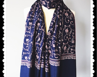 Navy Blue Pashmina, Hand Embroidered Bridal Wear, Evening Shawl, India Pure Wool Scarf, Lagenlook Shoes, Formal Dress Wrap,