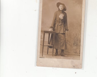 Circa 1915  Young Woman In Walking Suit-Large Brim Hat-Studio Photographic-RPPC  Antique Postcard-Soft  Face-Sepia