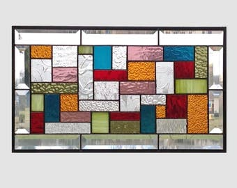 Multi color earth tone stained glass window panel geometric abstract stained glass panel window hanging home decor 0228 19 1/2 x 11 1/2
