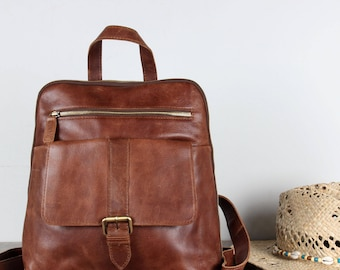 Leather Backpack, Rucksack, antique brown