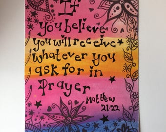 If you believe rainbow positivity quote art print, ready to frame