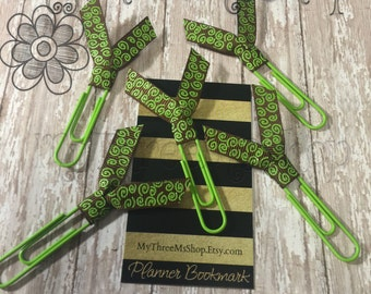 Lime green wonky swirl ribbon bookmarks, lime green and brown, bookmark, coupon organizer, Filofax, binder clip, Filofax divider, book club