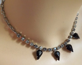 Vintage jet black and clear rhinestone necklace, teardrop and square rhinestone necklace, adjustable necklace, 19 inch necklace