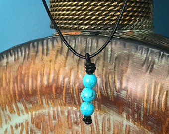 Leather & Turquoise Blue Bead Necklace