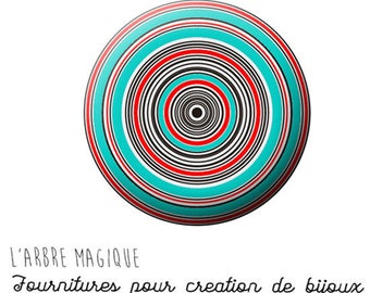 Cabochon 25 mm blue black red spiral ref 765 fancy