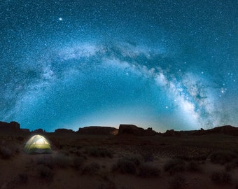 Camp Night Lights, Livingroom Prints, Wall Art, Nature, Photography, Landscape, Night Sky, Galaxy, Photo Print