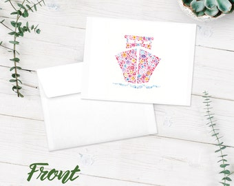 Notecards | Blank Note Cards | 10-Pack Blank Greeting Cards | Ship Floral Watercolor | Boat | Cruise Ship Art Print | FREE SHIPPING