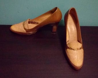1950s Pumps 50s Brown Shoes Miss Holmes Snakeskin Patent Buckle Heels Pinup Heels Two Tone UK 5.5 -6 EU 38 US 7  Court Shoes Buckle