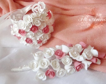 flower bracelet, flower boutonniere, gift for her, ivory style, bride jewelry, bridesmaids gift, ivory bride , white jewelry, pink and white