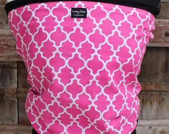 ORGANIC COTTON Baby Wrap Sling Carrier-Gray With Pink Lattice on Black -Newborn through Toddler- DvD Included