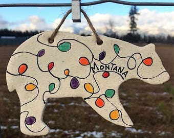 Handmade Ceramic Montana Bear Ornament