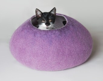 Cat Nap Cocoon / Cave / Bed / House / Vessel - Hand Felted Wool - Crisp Contemporary Design - READY TO SHIP  Warm Purple Violet Ombre Bubble