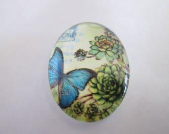 a cabochon glass 25 x 18 mm blue butterfly pattern