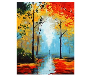 LARGE OIL Painting, autumn trees Painting,  Fall paintings,  Impressionist Art deco by Graham gercken