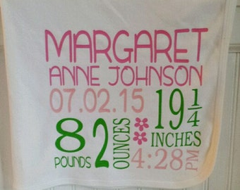 Personalized / Monogrammed baby birth blanket girl