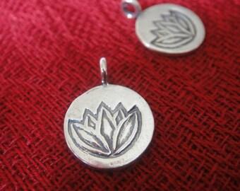 925 sterling silver oxidized lotus charm 1 pc.