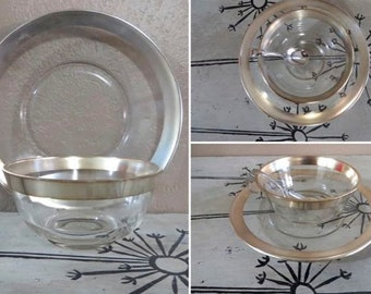 Dorthy Thorpe Chip and Dip Set Silver Trimmed Bowl and Plate Madmen Mid Century Glass Modern Glass Serving Set Serving Dish Appetizer Plate