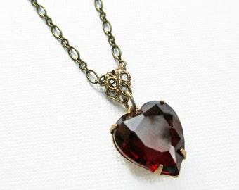 Crystal Heart Necklace -  Garnet - Victorian Jewelry - HEARTSONG Garnet