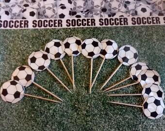 soccer ball cupcake topper, birthday cupcake topper, set of 12 cupcake topper