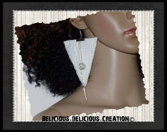Original earrings! TRICROCO! White leatherette T 8.5 cm belicous delicious creation