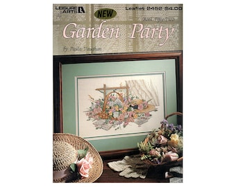 Garden Party Cross Stitch Leaflet, Floral Cross Stitch, Garden Cross Stitch, Flowers Cross Stitch, Paula Vaughan, NewYorkTreasures on Etsy