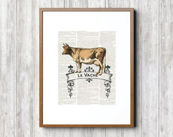 Le Vache, Art, Le Vache  Prints, Le Vache, Cow Art, Cow Prints, Farm Animal Prints, French Cow Art, French Cow Prints, Vintage Cow Art, Cows