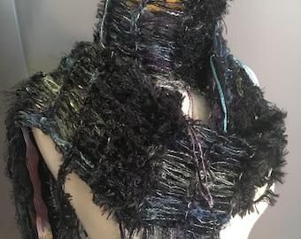 Dumpster Diva 'Deceipt'  Art Scarf, Hand dyed alpaca and ribbon knit black deep jewel tone scarf with long fringe, bohochic, lightweight