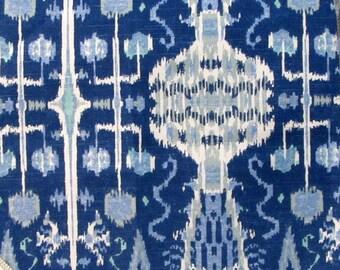 BOMBAY COBALT BLUE designer, drapery/bedding/upholstery ikat fabric
