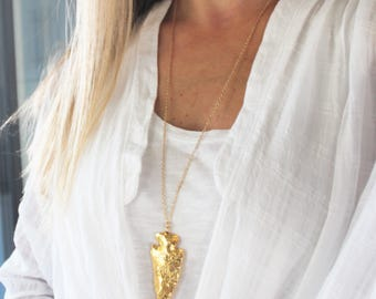Gold Arrowhead Necklace, Long Necklace, The Silver Wren, Arrowhead Necklace, Long Pendant Necklace Rosary Necklace, Long Layering Necklace