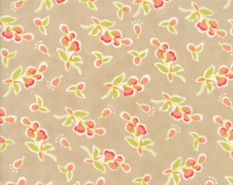 Tan Coney Island Fabric Fig Tree Fabric Medium Tan Floral Quilting Fabric By The 1/2 Yard