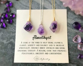 Raw Amethyst Crystal Pendant Necklace, February Birthstone, Purple Wire Wrapped Solitaire Gemstone Necklace, Bohemian, Spiritual, Healing