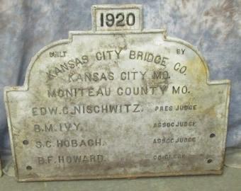 1920 Cast Iron Bridge Plaque Kansas City Bridge Moniteau Co MO Vintage Sign a, Advertising Plaque Cast Iron Plaque City Signs City Art