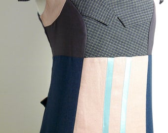 Size L/XL - Suit Patch Dress in Peach, Mauve & Denim Blue